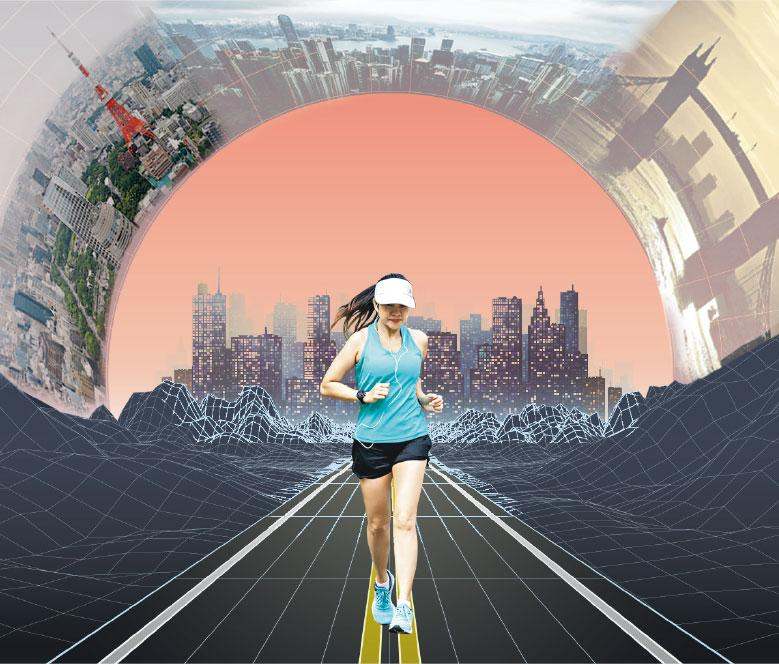 樓下跑到英國?——落樓下都可以參加日本或英國的馬拉松比賽?疫情下,大部分跑步比賽暫停或延期,而虛擬跑比賽正好讓跑友重拾目標,積極訓練。(明報製圖,Magnilion、Wand_Prapan@iStockphoto)