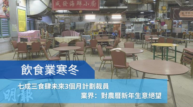 飲食業寒冬丨七成三食肆未來3個月計劃裁員 業界:對農曆新年生意絕望