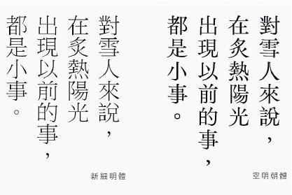字體比較——空明朝體(右)主打空氣感,圖為與常用的新細明體(左)比較。(空明朝體專頁圖片)
