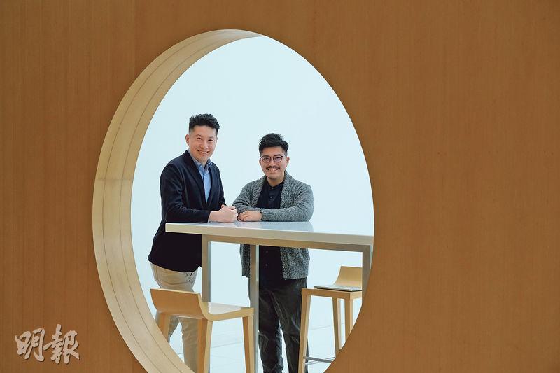 Arical行政總裁田學維(左)及技術總監王燊(右)開發、協助客戶分析不同場地發展潛力的平台,奪得首屆「設計×科技」初創挑戰計劃冠軍。他們期望以平台協助香港建立智慧城市,省卻以往人手計算及分析地點資訊的時間及人力資源。(鄧宗弘攝)