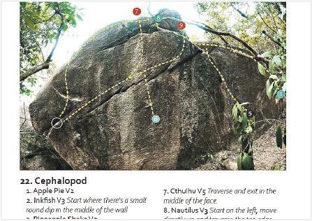 「天書」指路——在戶外抱石主要靠guide book指示路線的方向及難度。(受訪者提供)