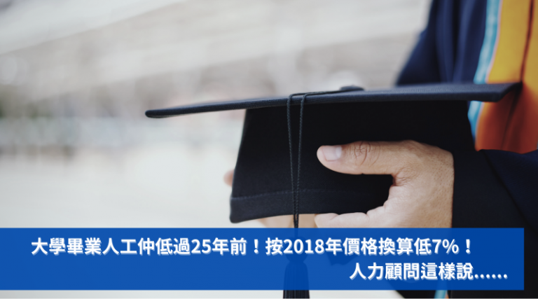 大學畢業人工仲低過25年前!按2018年價格換算低7%! 人力顧問這樣說......