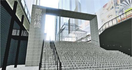 圖為建築署以電腦軟件製成的龍津橋三維空間模型。(建築署提供)