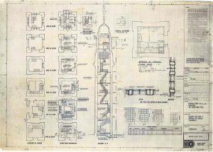 1970年代九鐵九龍車站(今日的尖沙嘴海旁)的鐘樓剖面圖。(建築署提供)