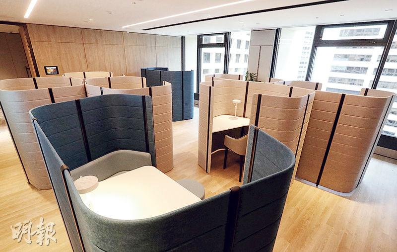 項目設有6個單人辦公隔間及兩個雙人辦公隔間,已配置了枱燈、充電及WiFi裝置。(李紹昌攝)