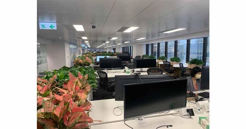 辦公室裝修主要考量員工如何配合後疫情時代工作,將以往三層樓層的工作人員,整合在一層工作
