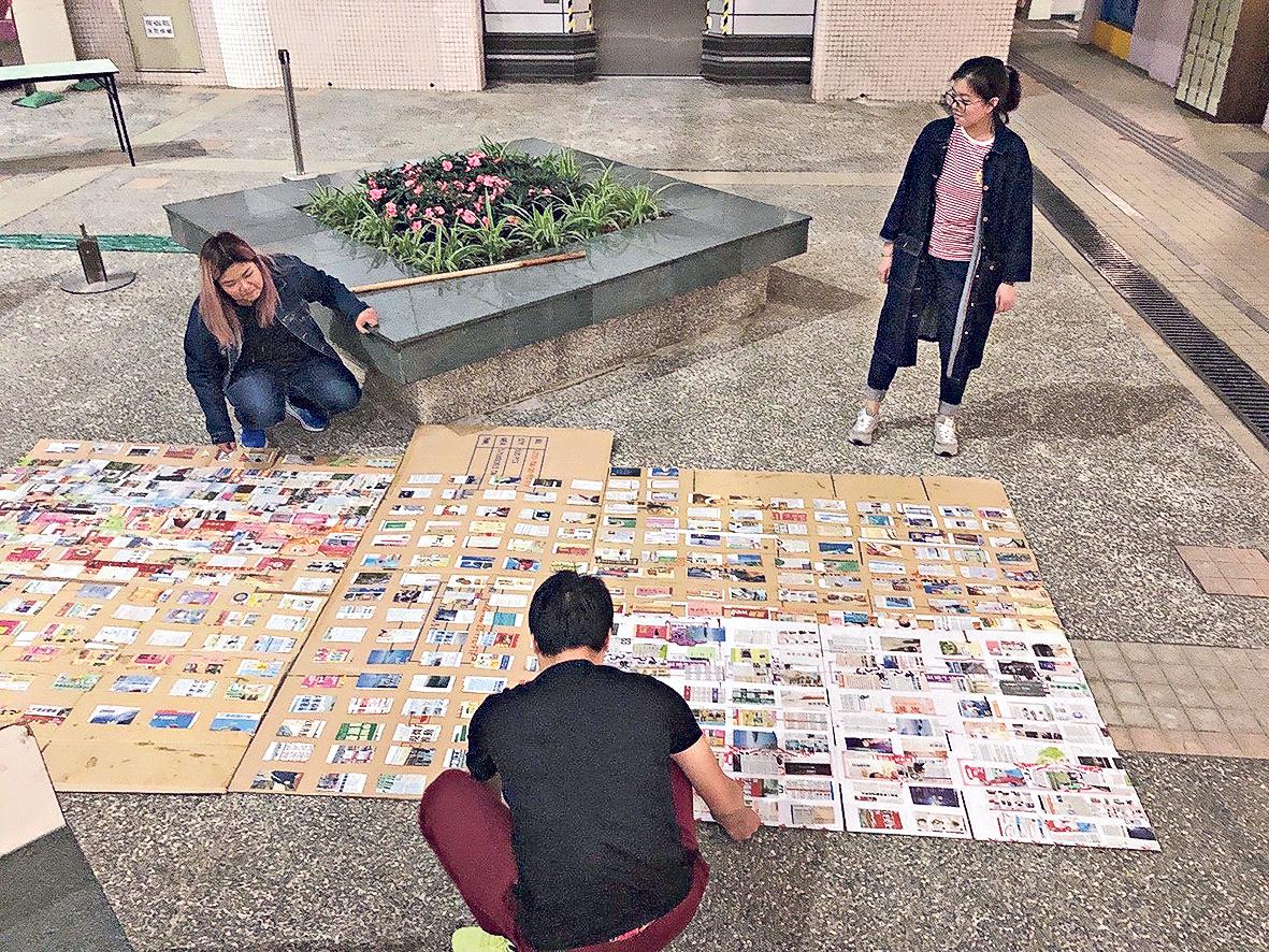 圖為Avis(長髮者)及北京清華大學美術學院同 學參加「文藝混作」實驗教學課程,在浸大善衡 校園籌備有關展品《2m³》時的花絮。