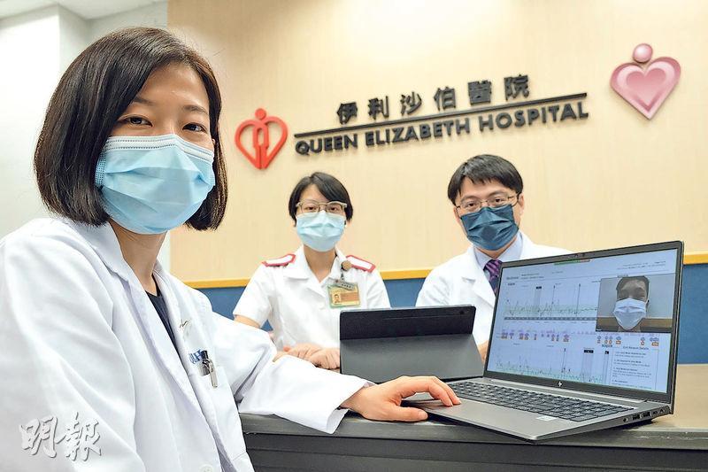 伊利沙伯醫院兒科糖尿診所18名病人試用雲端診所系統,伊院兒科副顧問醫生黃敏儀(左)指,部分病人在兩次實體覆診日期之間,增加一次網上覆診,有助她及時調整患者的飲食習慣或胰島素用量。(鄧宗弘攝)