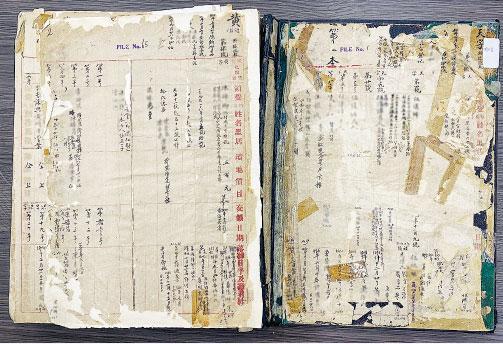 甩皮甩骨——由1915年開始使用的大簿,復修前甩皮甩骨,破爛不堪。(機構提供)