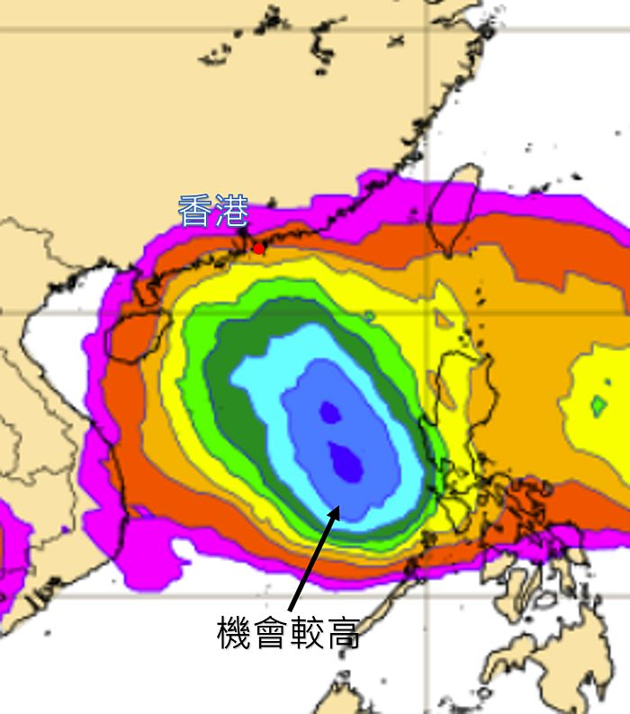 歐洲中期天氣預報中心預測本周後期的熱帶氣旋出現概率分佈圖。圖中偏紅色代表概率較低,藍色則代表較高。(天文台網頁圖片)