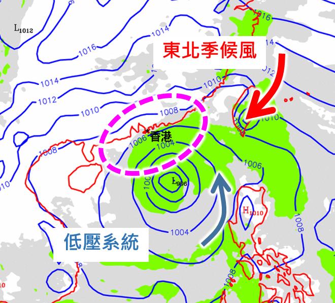 歐洲模式10月9日上午8時海平面氣壓預報圖顯示,華南沿岸一帶(紫圈示)等壓線比較緊密。(天文台網頁圖片)